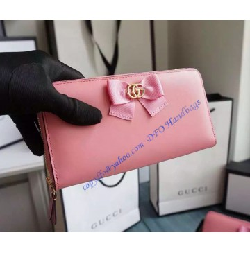 Gucci Bow Signature Zip Around Wallet GU-W423171-pink