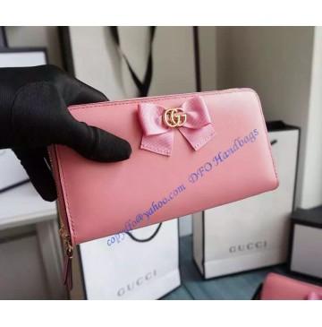 Gucci Bow Signature Zip Around Wallet GU-W423171-pink