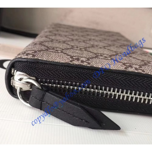04136ed2bb5 Gucci Bee Print GG Supreme Zip Around Wallet with Black Leather Trim