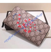 Gucci Kingsnake Print GG Supreme Zip Around Wallet with Black Leather Trim