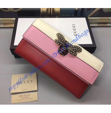 Gucci Queen Margaret White Pink Red Leather Continental Wallet