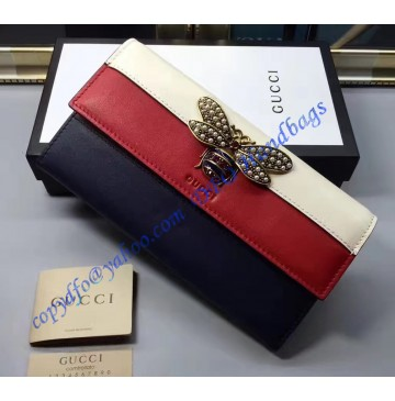 Gucci Queen Margaret White Red Blue Leather Continental Wallet