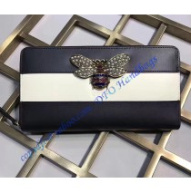 Gucci Queen Margaret Black White Leather Zip Around Wallet