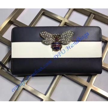 Gucci Queen Margaret Black White Leather Zip Around Wallet