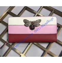 Gucci Queen Margaret White Pink Red Leather Zip Around Wallet