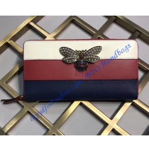 Gucci Queen Margaret White Red Blue Leather Zip Around Wallet