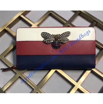 Gucci Queen Margaret White Red Blue Leather Zip Around Wallet