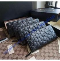 Gucci Black Guccissima Leather Zip Around Wallet
