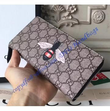 Gucci Bee Print GG Supreme Zip Around Wallet with Black Leather Trim