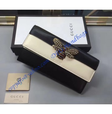 Gucci Queen Margaret White Black Leather Continental Wallet