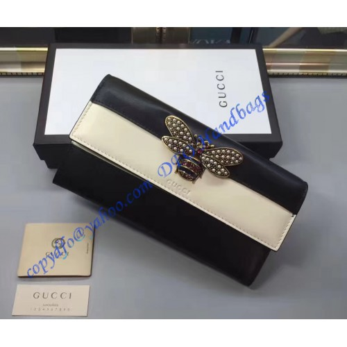 a22e367af69 Gucci Queen Margaret White Black Leather Continental Wallet. Loading zoom