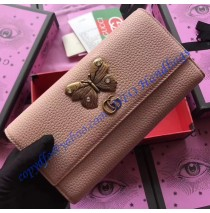 Pink Leather continental wallet with butterfly