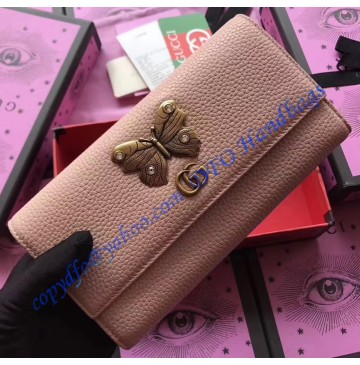Gucci Pink Leather continental wallet with butterfly