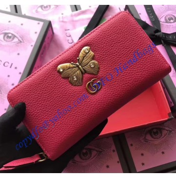 Gucci Red Leather zip around wallet with butterfly