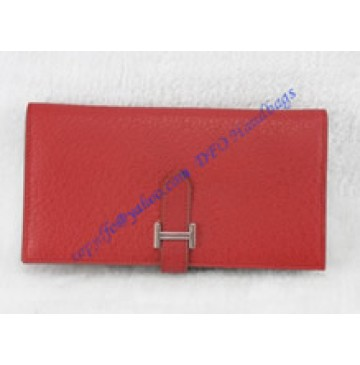 Hermes Bearn Long Wallet HW208 red
