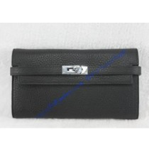 Hermes Kelly Long Wallet HW708 black