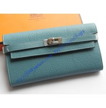 Hermes Kelly Long Wallet HW708 blue
