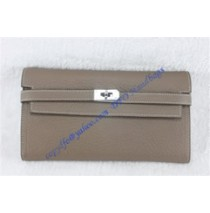 Hermes Kelly Long Wallet HW708 gray