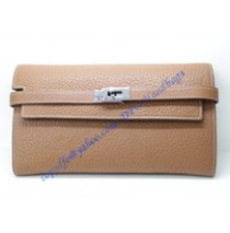 Hermes Kelly Long Wallet HW708 light brown