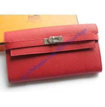 Hermes Kelly Long Wallet HW708 red