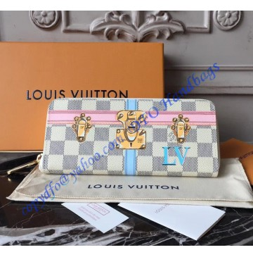 Louis Vuitton Trompe L'oeil Screen Damier Azur Clemence Wallet N60109