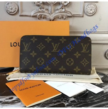 Louis Vuitton Monogram Canvas Zippy Wallet with Fuchsia Leather Lining m41895