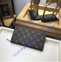 Louis Vuitton Monogram Canvas Zippy Wallet with Coquelicot Leather Lining m41896