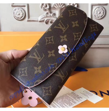 Louis Vuitton Monogram Bloom Flower Emilie Wallet Pink