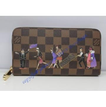 Louis Vuitton Damier Ebene Canvas Zippy Wallet Illustre N63004