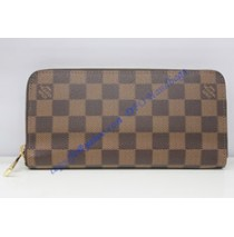 Louis Vuitton Damier Ebene Canvas Zippy Wallet N63095 coffee