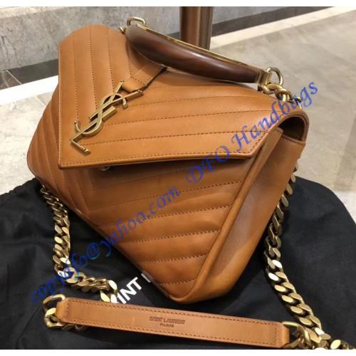 Ysl Monogram College Medium Leather Shoulder Bag With A