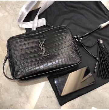 Saint Laurent Lou Camera Bag in Matte black Crocodile-Embossed Leather
