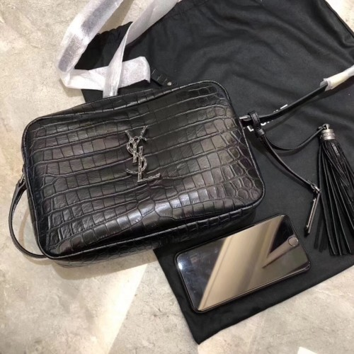 da4e72890b43 Saint Laurent Lou Camera Bag in Matte black Crocodile-Embossed Leather.  Loading zoom