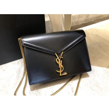Saint Laurent Cassandra Chain Envelope Flap Bag in Black Leather