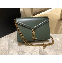 Saint Laurent Cassandra Chain Envelope Flap Bag in Green Leather