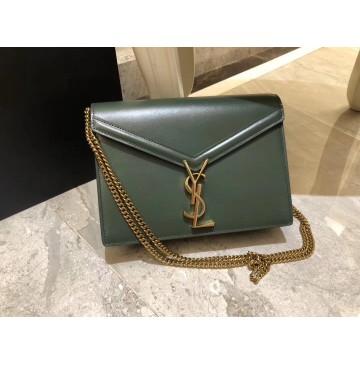 Saint Laurent Cassandra Chain Envelope Flap Bag in Green Leather