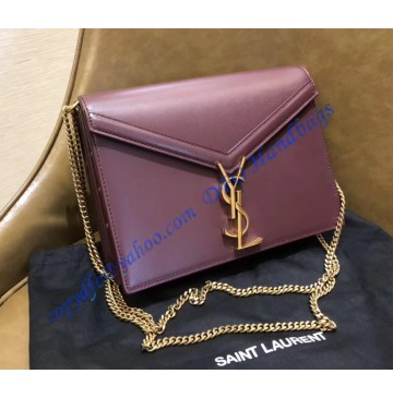 Saint Laurent Cassandra Chain Envelope Flap Bag in Wine Red Leather