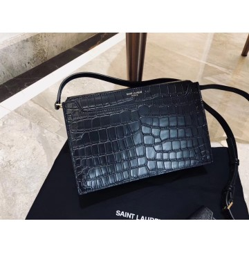 Saint Laurent Catherine Satchel in Black Crocodile Embossed Leather