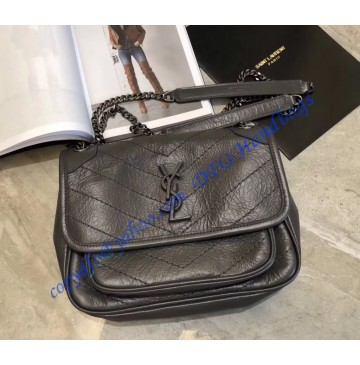 Saint Laurent Baby Niki Chain Bag in Crinkled and Quilted Dary Gray Leather