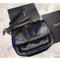 Saint Laurent Baby Niki Chain Bag in Crinkled and Quilted Black Leather