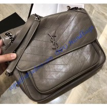 Saint Laurent Large Niki Chain Bag in Crinkled and Quilted Gray Leather