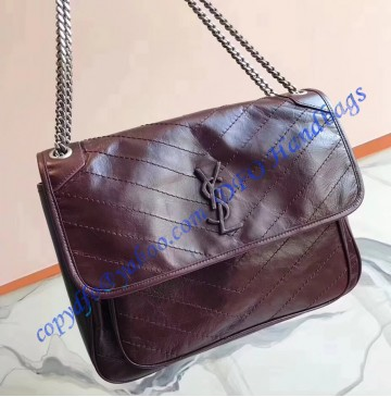 Saint Laurent Large Niki Chain Bag in Crinkled and Quilted Wine Leather