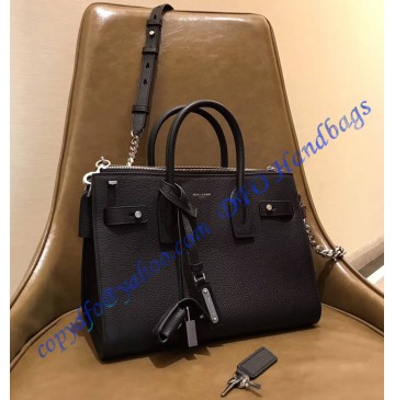 Saint Laurent Baby Sac De Jour Souple Duffle Bag in Black Grained Leather