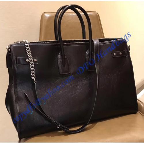 6ba810bc658 YSL Sac De Jour Souple 36H Duffle Bag in Black Moroder Leather. Loading zoom