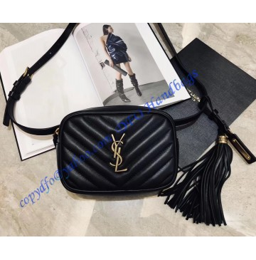Saint Laurent Chevron Lou Belt Bag Black