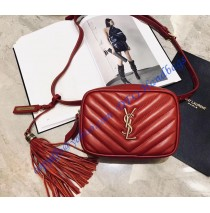 Saint Laurent Chevron Lou Belt Bag Red