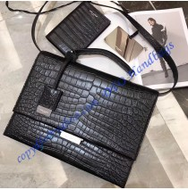 Saint Laurent Medium Babylone Satchel in Black Crocodile Embossed leather