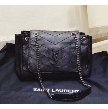 Saint Laurent Small Nolita Bag in Black Vintage Leather