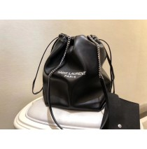 Saint Laurent Teddy Drawstring Bag in Black Smooth Leather