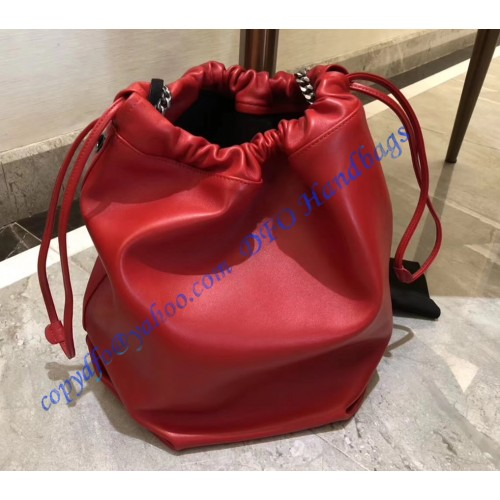 Saint Laurent Teddy Drawstring Bag In Red Smooth Leather